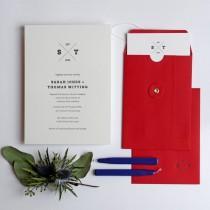 wedding photo - Emblem Letterpress Wedding Invitation Sample