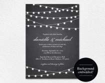 wedding photo - Rustic Wedding Invitation, Chalkboard Wedding Invitation, Wedding Printable, String Lights Wedding, DIY, PDF Instant Download