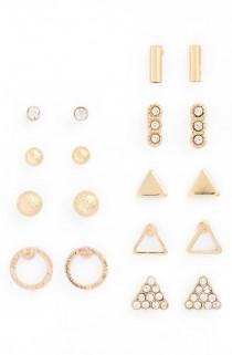 wedding photo - 9-Pack Geo Stud Earrings