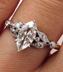wedding photo - Antique Victorian French 1.00ct Old European Marquise Cut  Diamond Engagement 18k Ring