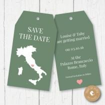 wedding photo - Italy Map Wedding Luggage Tags – Save the Date - Any Country - Digital file