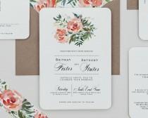 wedding photo - Red Rose Floral Wedding Invitation Template,Rustic Floral Wedding Invitation Digital Download,Red Floral Wedding Printable Invitation Set