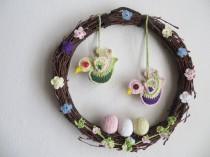 wedding photo - Spring Wreath Easter Wreath Crochet flowers Crochet Eggs Crochet Birds Natural Material Birch Branches Crochet Décor Crochet Door Décor