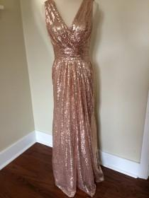 wedding photo - Alyssa's Bridesmaids - rose gold pink champagne luxury sequin v neck backless full length long dress