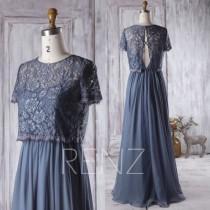 wedding photo - 2016 Navy Blue Bridesmaid Dress,Short Sleeves Detachable Lace Illusion Wedding Dress, Chiffon A Line Prom Dress, Floor Length (H263)