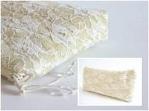 wedding photo - Summer Wedding Clutch, Pastel Yellow Lace Clutch, Bridal Purse, Elegant Bridesmaid Bag, Special Occasion Bag
