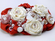 wedding photo - Wedding Fascinator Hairpiece, Up-Cycled Bridal Headpiece, Mauve Repurposed Satin & Antique Buttons, Victorian Style Bridal Head Piece