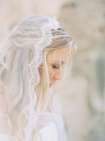 wedding photo - Wedding Veil, French Chantilly Lace Mantilla Veil, Wedding Veil, Waltz Length Bridal Veil, Lace Veil