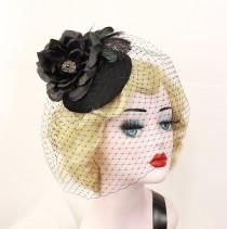 wedding photo - Black Rose Hat, Black Birdcage Veil, Feather Fascinator, Birdcage Veil, Black Hat, Rose Headpiece, Victorian Hat, Goth Bridal, 1940s Pin Up