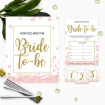 wedding photo -  Pink and Gold How Old was the Bride-to-Be Bridal Shower Game-DIY Golden Glitter Floral Printable How Old Was the Bride Cards and Sign