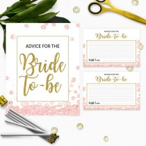 wedding photo -  Pink and Gold Advice for the Bride Card and Sign Instant Download-Golden Glitter Floral Bridal Shower Advice Cards-Bridal Party Games