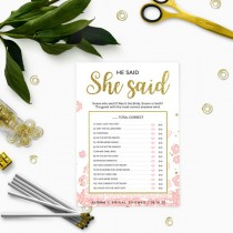 wedding photo -  Gold and Pink Bridal Shower He Said She Said Game-Golden Glitter Floral DIY Printable He Said She Said Game-Personalized Guess Who Said Game