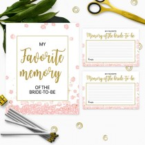 wedding photo -  Gold and pink my favorite memory of the bride cards and sign-Printable Instant Download PDF File Golden Glitter Bridal Shower, Bachelorette