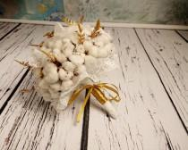 wedding photo - Natural organic raw cotton bolls gold ferns rustic wedding BOUQUET autumn winter winterwonderland elegant lace sparkle glitter original