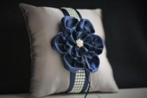 wedding photo - Gray Navy Bearer Pillow  Navy ring cushion  Navy Wedding Pillow  Gray Navy Wedding Ring Holder  Grey Navy Pillow  Pillow for rings