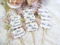 wedding photo - Wedding Cupcake Toppers Party Picks - Bridal Mix - Just Married We Do Mr. & Mrs. - Set of 12 or 18 - Choose Ribbons - Rustic Vintage Style