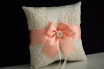 wedding photo - Peach Wedding Bearer  Peach Ring bearer Pillow  Peach Wedding Pillow  Peach ring holder  Ivory Peach Bearer  Lace peach Bearer