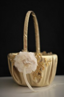 wedding photo - Gold Wedding Baskets  Lace Wedding Basket  Gold Flower Girl Basket Pillow Set  Gold lace basket  Gold petals basket  Handmade basket