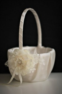 wedding photo - Ivory Flower Girl Baskets  Ivory Wedding Baskets  Lace Wedding Basket  Handmade flower basket  Ivory petals basket  ivory Ring bearer