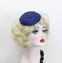 wedding photo - Navy Blue Birdcage Veil, Cocktail Hat, Silk Fascinator, Lace, Bridal Hat, Wedding Veil, Mother of the Bride, Blusher Veil, Batcakes Couture