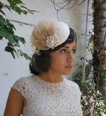 wedding photo - Wedding Veil, Birdcage Veil, Feather Fascinator, Silver Flower, Champagne Pearl, Bridal, Woman's Hat, Unique Bridal,  Batcakes Couture