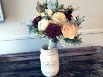 wedding photo - Burgundy, Blush, Wedding Bouquet made with sola flowers - choose your colors - Custom - Alternative bridal bouquet - bridesmaids bouquet