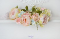 wedding photo - Wedding head wreath Peonies crown peach floral halo bridal Peonies head piece pastel crown Boho hair Prom Girl crown Pale spring wedding