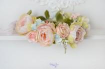 wedding photo - Wedding head wreath Peonies crown peach floral halo bridal Peonies head piece pastel crown Boho hair Prom Girl crown Pale spring wedding