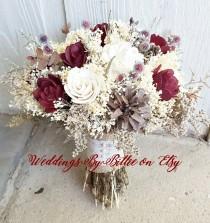 wedding photo - Fall Bouquets, Burgundy Cranberry Pinecone Bouquet, Burlap Lace,Sola Bouquet,Alternative Bouquet,Rustic Shabby Chic ,Bride, Keepsake Bouquet