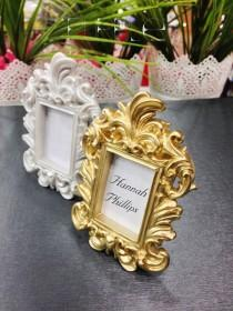 wedding photo - Place Cards / Name Cards Ornate Wedding Place Card Holder Ornate Gold Frames Wedding Favor Decorated Bridal Shower Frame guest name prints