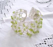 wedding photo - Boho wedding bracelet, Crochet Green Peridot Gemstone Summer Bridal Jewelry, Lace Silver, August birthstone, Bridesmaids Maid of honor gift