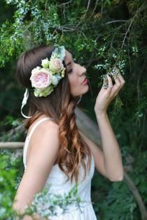 wedding photo - Boho flower crown Floral head wreath Peach Rose David Austin Floral hair accessories Boho Floral crown Bridal crown blush wedding halo