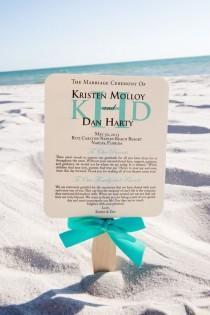 wedding photo - Wedding Program Fan, Turquoise Program Fans, Beach Wedding Programs, Beach Fans, Personalized Wedding Program Fans -  SAMPLE