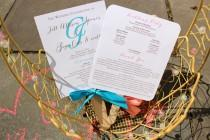 wedding photo - Wedding Program Fans, Coral Wedding Fans, Turquoise Program Fans, Personalized Fans -  Monogram Wedding Program Fan SAMPLE - Pick 2 Colors