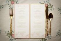 wedding photo - Pink Wedding Menus / Gold Wedding Menus /Pink and Gold Menu / Floral Menus / Pink Orchid Sample Menu, As Seen on The Wedding Chicks Blog