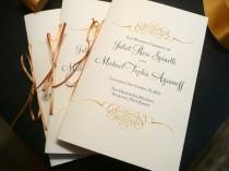 wedding photo - Gold Wedding Programs, Gold and Black, Wedding Booklets, Elegant Wedding Programs - Gold Flourish Wedding Programs - 8 Pages of Text
