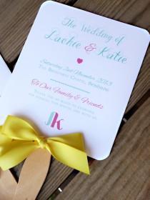 wedding photo - Whimsical Program Fans, Yellow Wedding Programs, Monogram Fan with Heart - Brisbane Program Fan SAMPLE