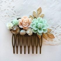 wedding photo - Romantic Wedding Hair Comb Bridal Hair Clip Gold Leaves Pastel Blush Mint Green Floral Bridesmaid Hair Slide Gift Chintz Elegant Chic Boho
