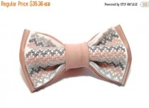 wedding photo - SALE 25% OFF Gifts for him For men of style Blush grey chevron bow tie Newborn gift Like a boss Gift under 30 gifts Pastel chevron necktie E