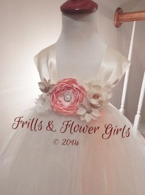 wedding photo - Light Peach or Coral Satin Flower with Burlap flowers on Ivory Tulle Tutu Dress Flower Girl Dress Sizes 2, 3, 4, 5, 6 up to Girls Size 8