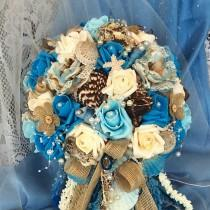 wedding photo - Rustic Beach Wedding Cascade Bridal Flowers Bride's Bouquet-Blue-Nautical Wedding Bouquet-Seashell Wedding-Destination Beach Bride Flowers