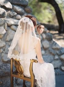 wedding photo - Wedding Veil, Lace, French netting, Tulle, Ivory - Style 216