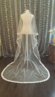 wedding photo - 3M Lace Veil, 1 Tier, Off White, READY TO SHIP, (V09-HT3ML)