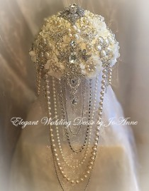 Cascading Brooch Bouquet Ivory And Silver Custom With D Pearls Jeweled Deposit Only
