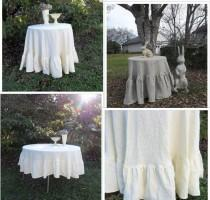 """wedding photo - Floor Length Ruffled Linen Tablecloth Ruffled Tablecloth Custom Handmade Wedding Decorations Table Decor French Country 90"""" Tablecloth Round"""