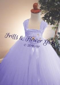 wedding photo - Lavender Flower Girl Dress Lavender Lace Flower Girl Dress LINED skirt  Dress Sizes 18 Mo up to Girls Size 10