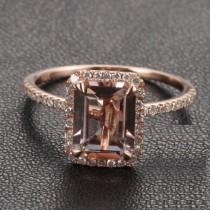 wedding photo - Limited Time Sale: 1.50 Carat Peach Pink Morganite  (emerald cut Morganite) and Diamond Engagement Ring in 10k Rose Gold
