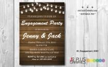 wedding photo - INSTANT DOWNLOAD Engagement Invitation, Rustic Lights Engagement Party Invitation Printable, Invites Template Instant Download Editable pdf