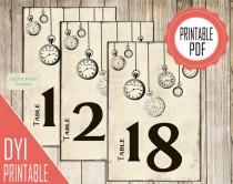 wedding photo - Wedding table numbers printable, Alice in wonderland wedding DIY table numbers ideas, printable numbers Alice wedding table signs