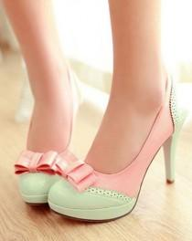 wedding photo - Details About Ladies Lolita Bow Sweet Candy Platform High Heel Leather Pumps Shoes Plus Size 9